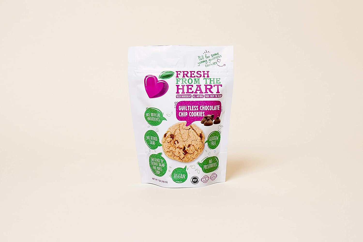 Fresh From the Heart Healthy Cookies, 100% Vegan and Gluten-Free, Non-GMO, Only Wholesome and Plant-Based Ingredients, Guiltless Chocolate Chip Cookie Snack Bag (Pack of 14)