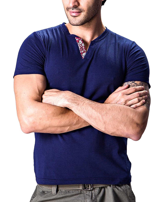 NIDICUS Mens Solid Slim Fit Floral V-Neck T-Shirt Short-Sleeve