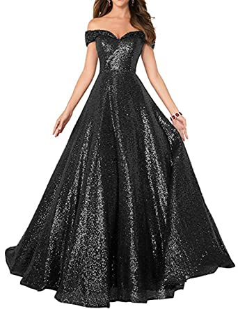 Sequin Prom Dresses Off The Shoulder Crystal Beaded Swing Ball Gown Long Black Size 6