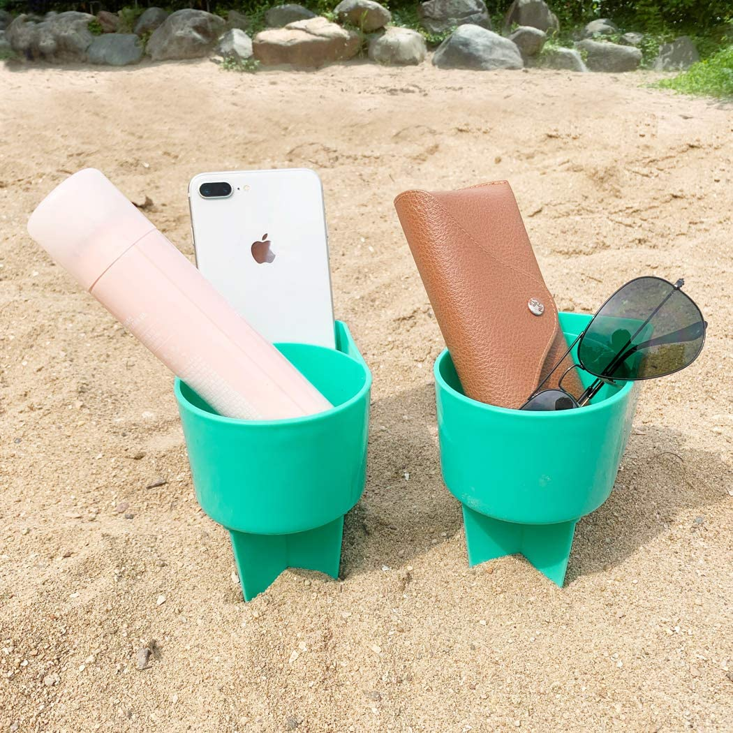 Home Queen Beach Cup Holder with Pocket, Multi-Functional Sand Cup Holder for Beverage Phone Sunglasses Key, Beach Accessory Drink Sand Coaster, 2-Pack, Teal