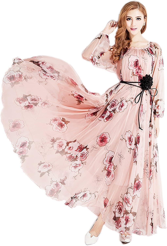MedeShe Women's Chiffon Floral Holiday Beach Bridesmaid Maxi Dress Sundress