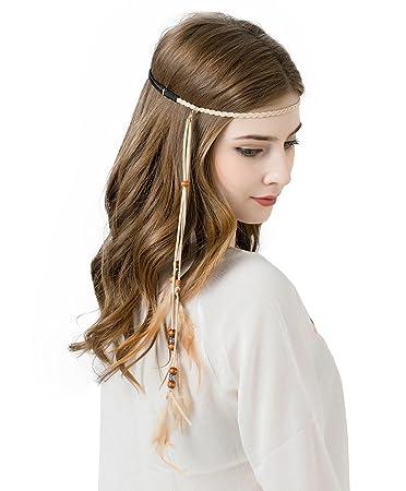 757560e206523 AWAYTR Feather Headband Indian Headpiece - Bohemian Tassels Girls hairband  Festival Headwear For...