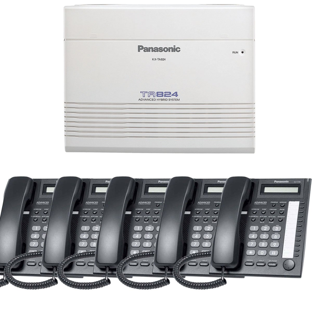 Panasonic Small Office Business Phone System Bundle Brand New includiing KX-T7730 5 Phones Black and KX-TA824 PBX Advanced Phone System