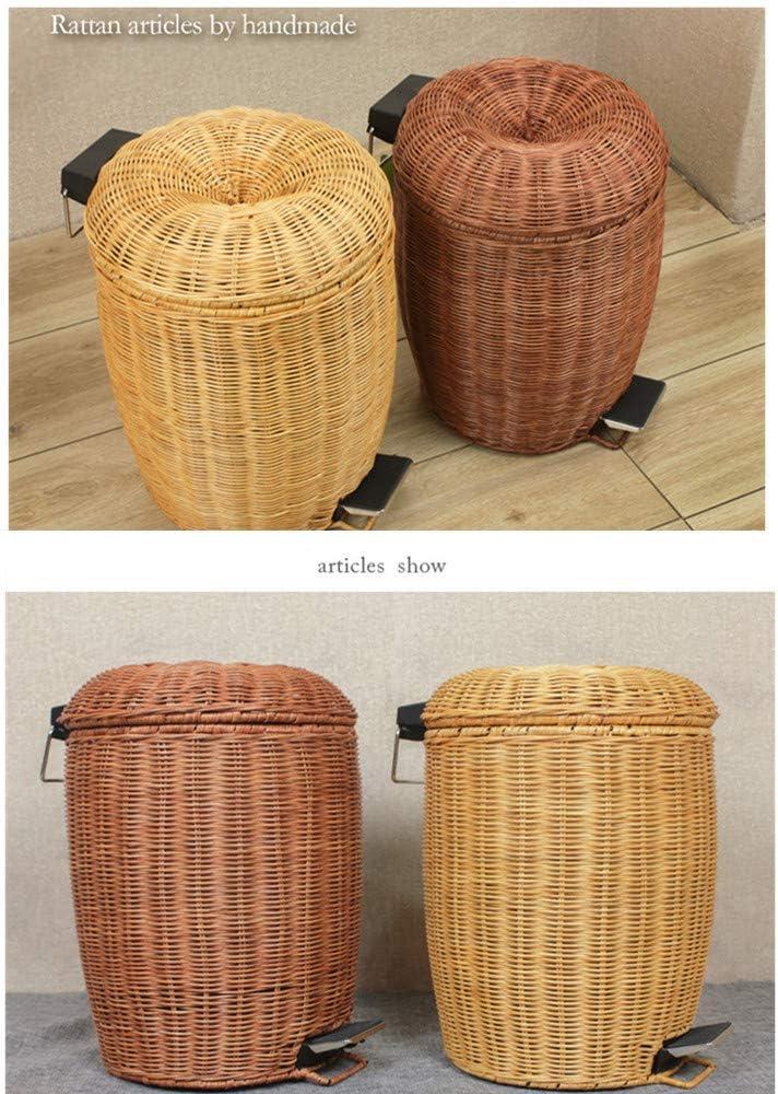 AKEYAY Rattan Trash Can Portable Trash Can,Eco-Friendly Trash Bin Double Layer Dustbin,Pedal Recycle Bin for Living Room Kitchen Car Rubbish Bins,Brown,3L