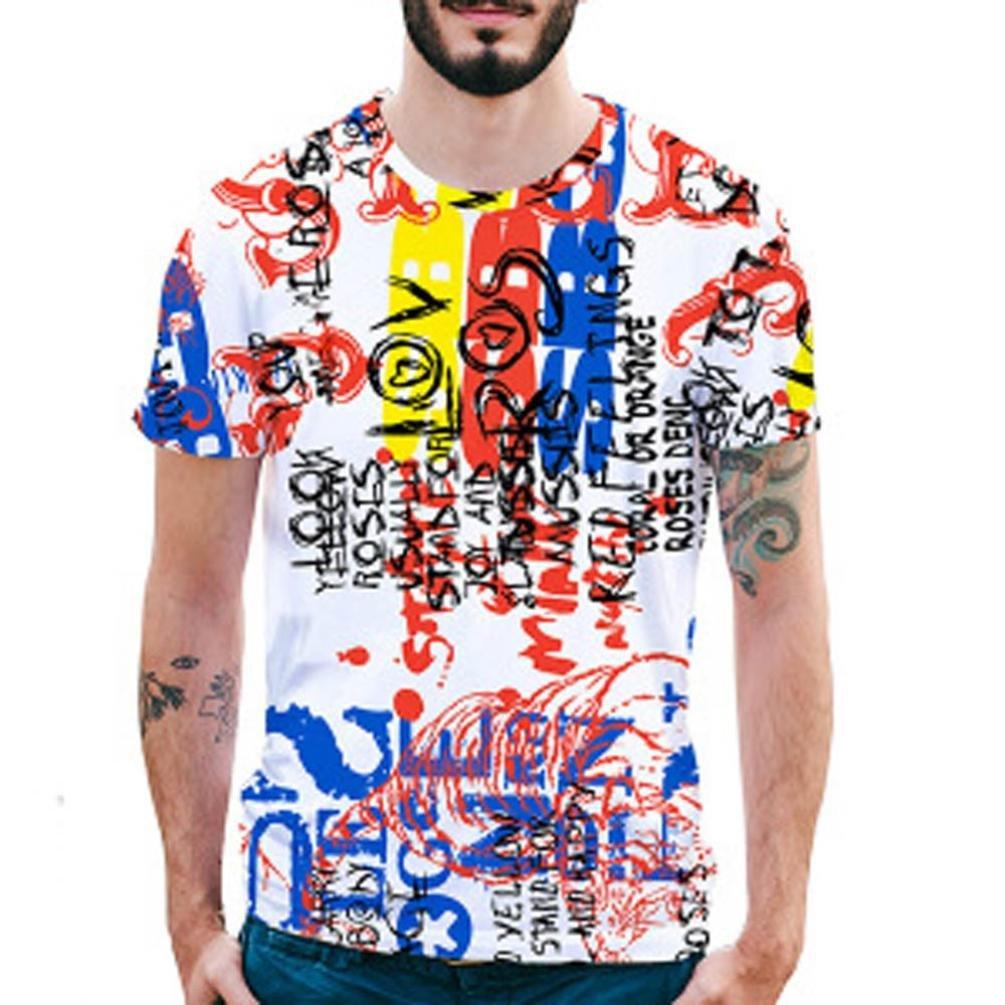 Longra Herren Bunt 3D Druck T-Shirt Sommer Tops Kurze Huuml;lsen T-Shirts T-Stuuml;cke Mauml;nner Design T-Shirt beilauml;ufige Hemd Bluse Rundhals Hawaiian Shirt T-Shirt Tees Tops  XXL Multi Color 03