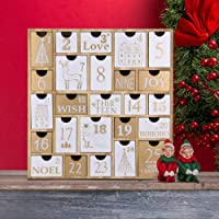 Juegoal Advent Calendar with 25 Drawers Countdown to Christmas, Refillable Wooden Advent Xmas Gift for Kids, 12 Inches…