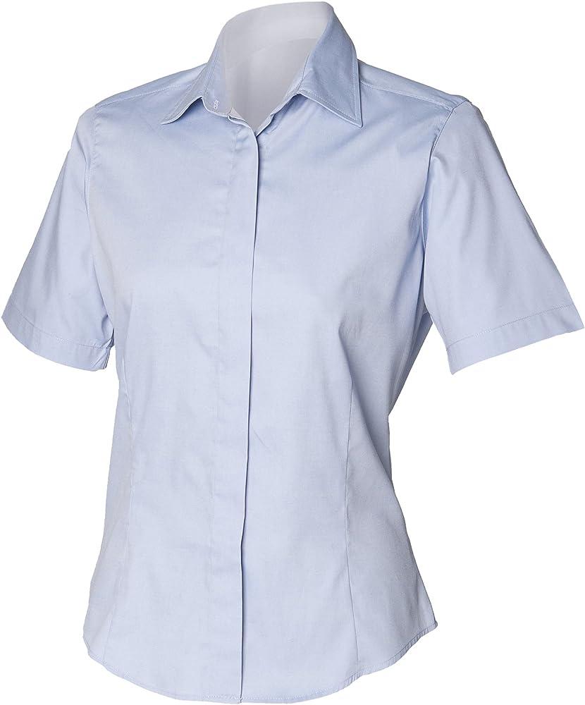 Henbury- Camisa de Trabajo Entallada Oxford de Manga Corta para Mujer (XS) (Azul Claro): Amazon.es: Ropa y accesorios