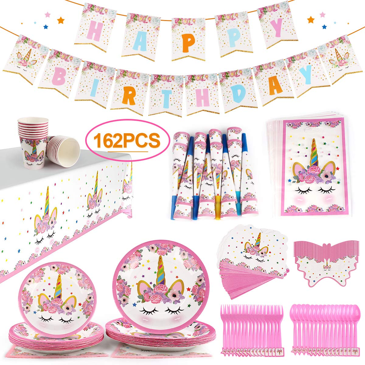 GobiDex 162PCS Magical Unicorn Party Supplies Set Serves Sweet 16 Party Supplies Unicorn Party Favors Decorations Disposable Eco Friendly Plates Cups and Napkins No Wash Up for Party People by GobiDex