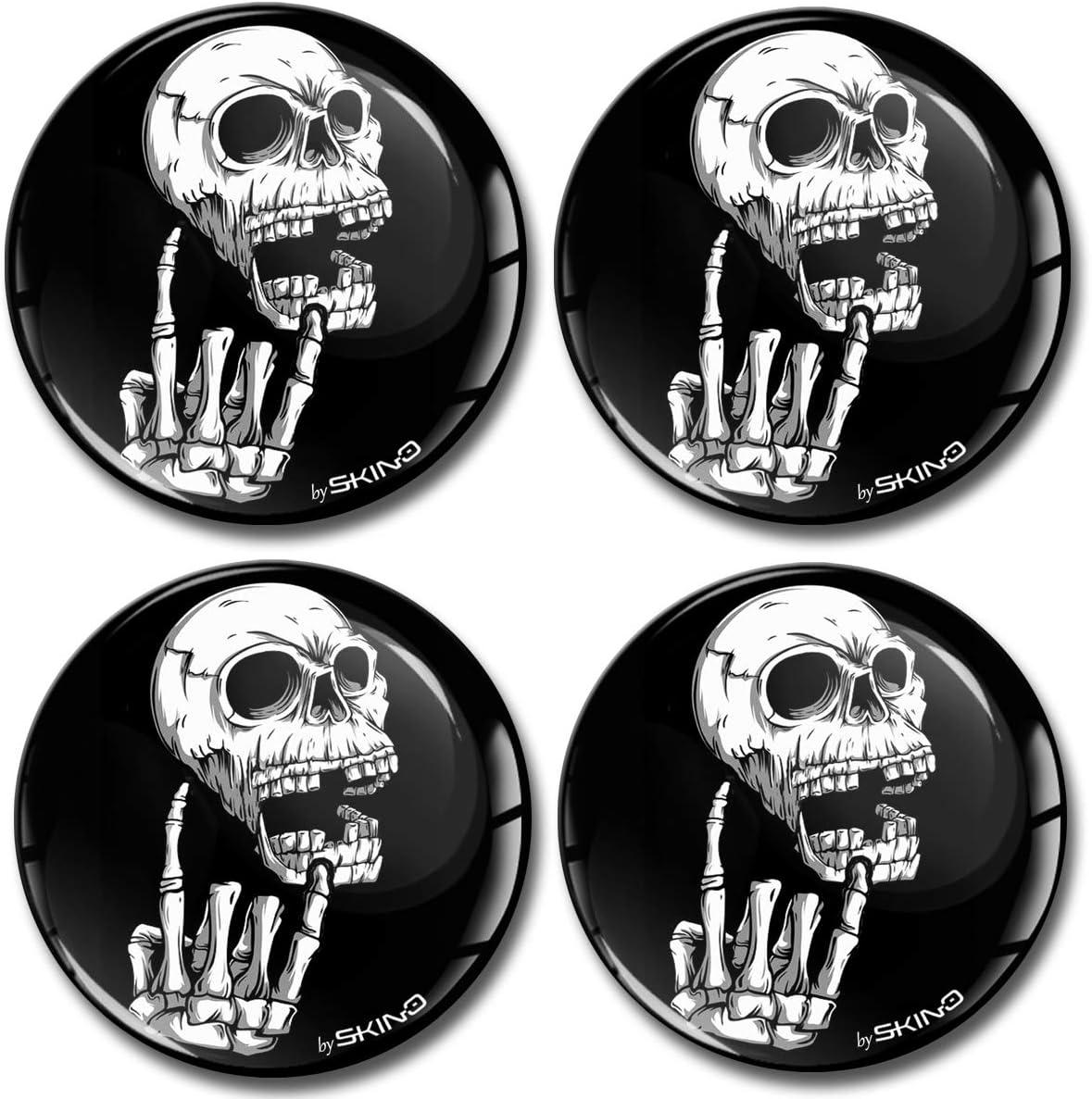 Biomar Labs/® 4 x 60mm Adesivi 3D in Silicone per Coprimozzo Copricerchi Tappi Ruote Auto Tuning Teschio Skull Heavy Metal A 2760