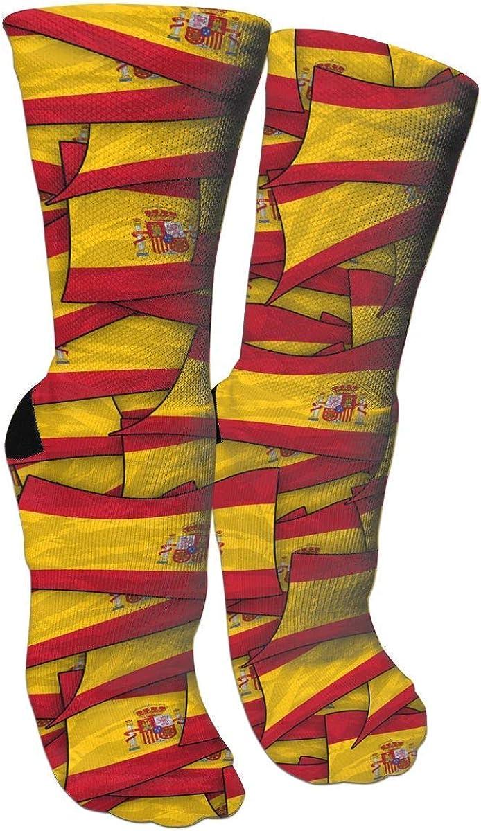 Bandera de España Calcetines de bandera estrellada Calcetines de equipo Calcetines locos Calcetines largos de tubo Novedad Diversión para mujeres Adolescentes Niñas: Amazon.es: Ropa y accesorios