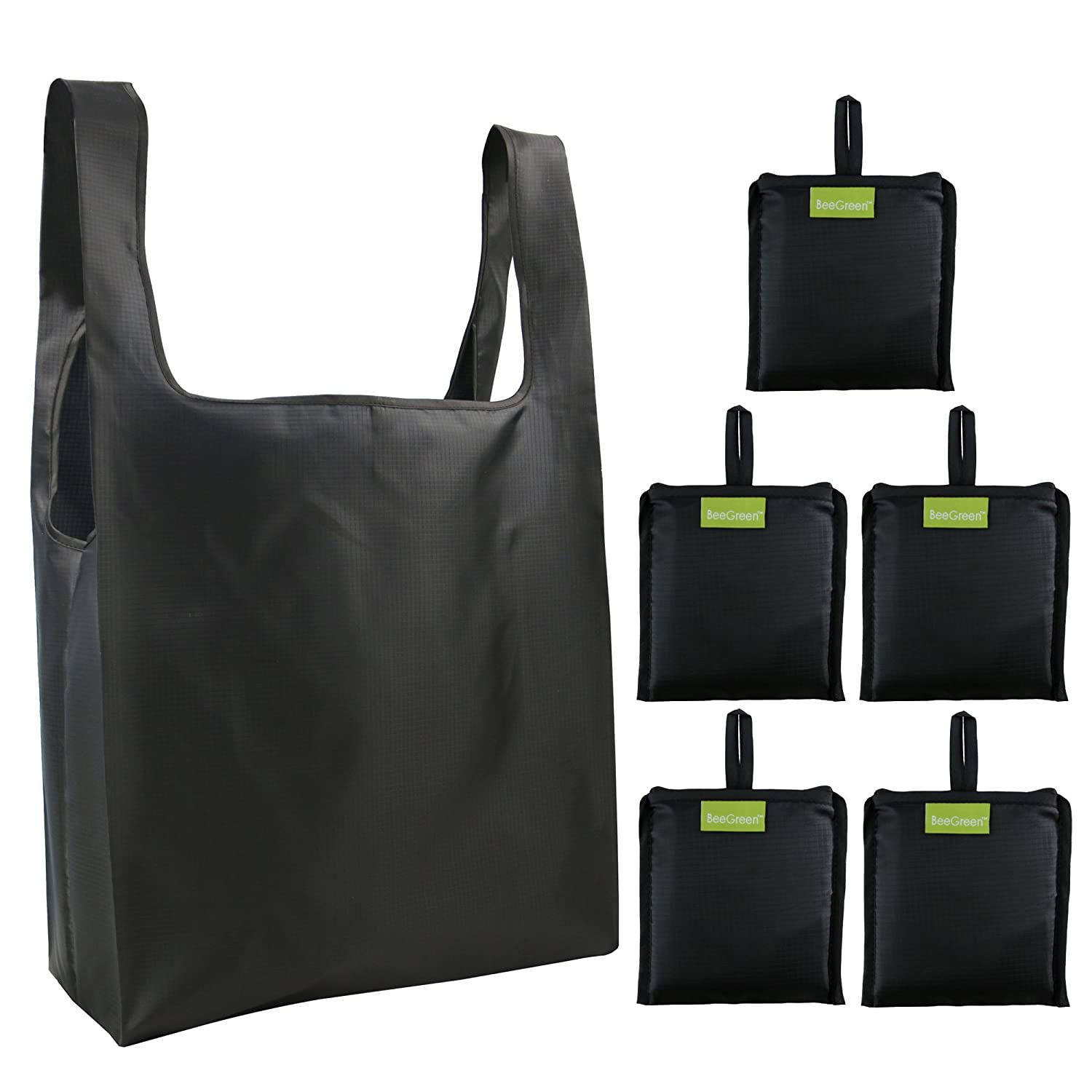 (Black)Reuable Bags Bulk 5 Pack Black, Ripstop Polyester Grocery Bags Foldable into Attached Pouch, Washable, Durable and Lightweight B06Y1TLWKD ブラック ブラック