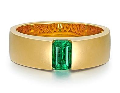 fa0d1b5e18cf Epinki 18k Oro Anillos para Mujer Anillo Ancho Anillo de Diamante Anillos  Compromiso con Verde Esmeralda  Amazon.es  Joyería