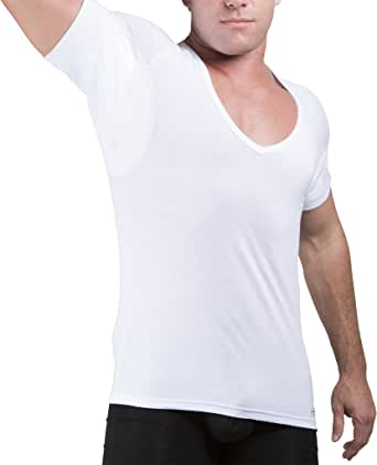 Ejis Sweat Proof Undershirts Men w/Sweat Pads & Real Silver, Cotton Deep V Neck