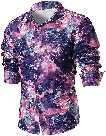 e2ff9ef8ba LuckyGirls Camisetas Hombre Manga Larga Estampado Originales Casual  Streetwear Negocio Camisa (Púrpura