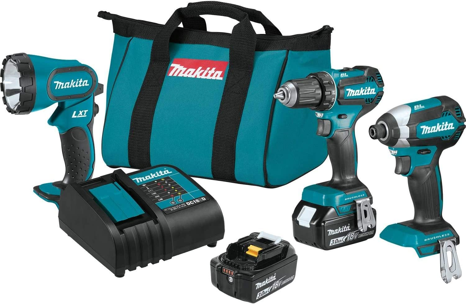 Makita XT335S 18V LXT Lithium-Ion Brushless Cordless 3-Pc. Combo Kit 3.0Ah
