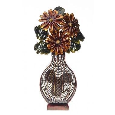 DecoBREEZE Decorative Table Fan, Desk Fan, Two Speed Electric Tabletop Fan, Figurine Fan, 7 inch, Floral Bouquet
