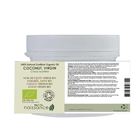 Naissance Coco Virgen BIO Sólido - Aceite Vegetal Prensado en Frío 100% Puro - Certificado Ecológico - 50g: Amazon.es: Belleza