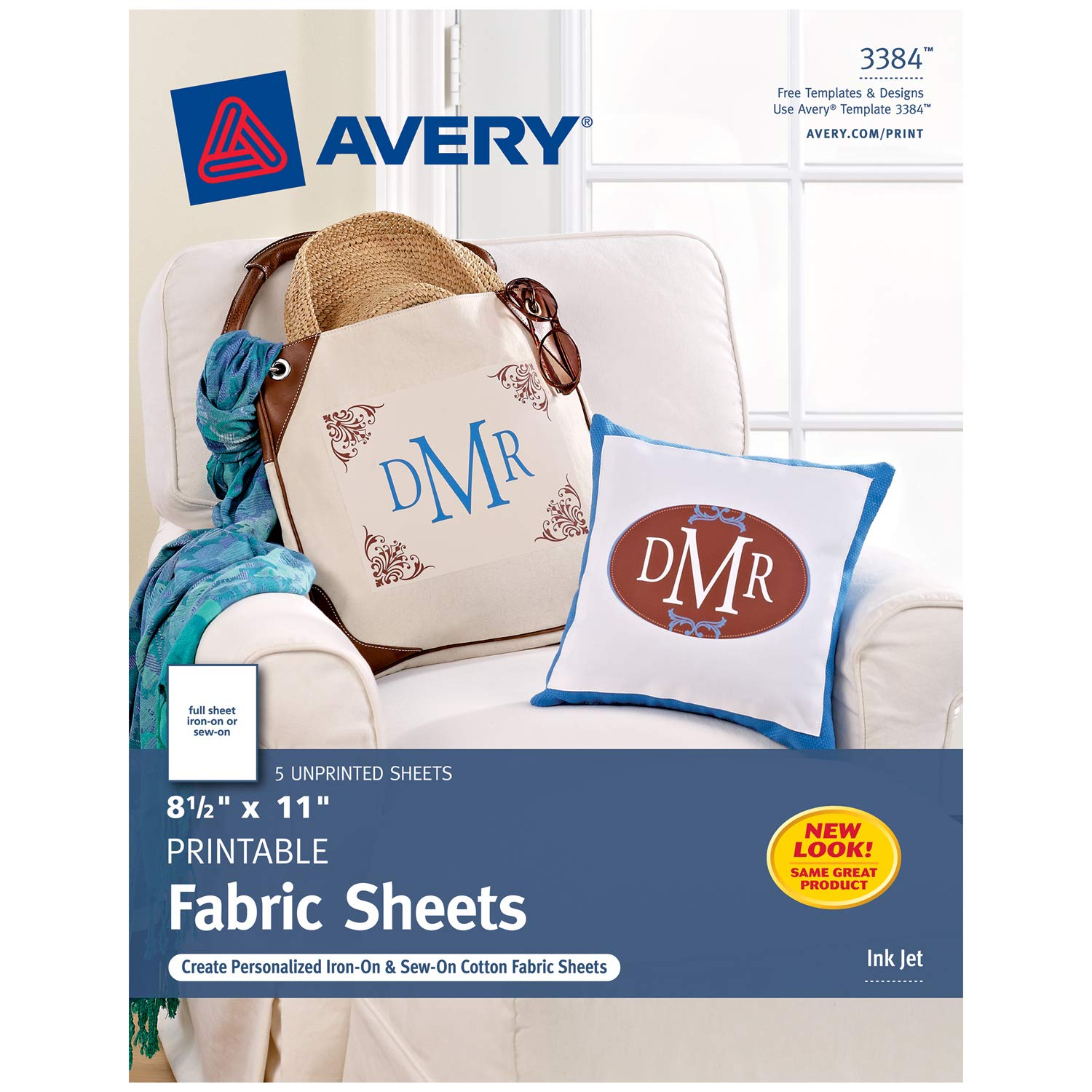 Avery Printable Fabric for Inkjet Printers, 8.5 x 11 Inches, Pack of 5 (03384)