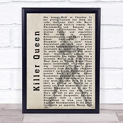 Amazon Com Killer Queen Silhouette Song Lyric Quote Print Office Products