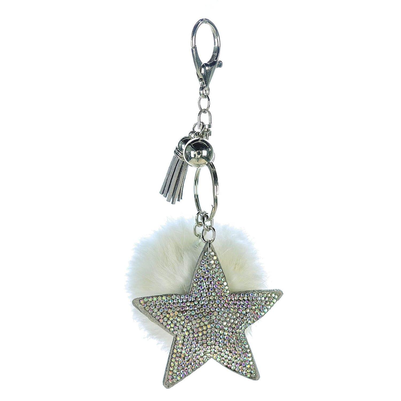 Llavero Estrella M. Brillantes pompones Color Blanco Altura ...