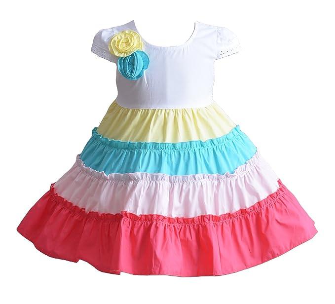 Cinda Baby Mädchen fünf Farbe Reifen Baumwolle Partei Kleid ...
