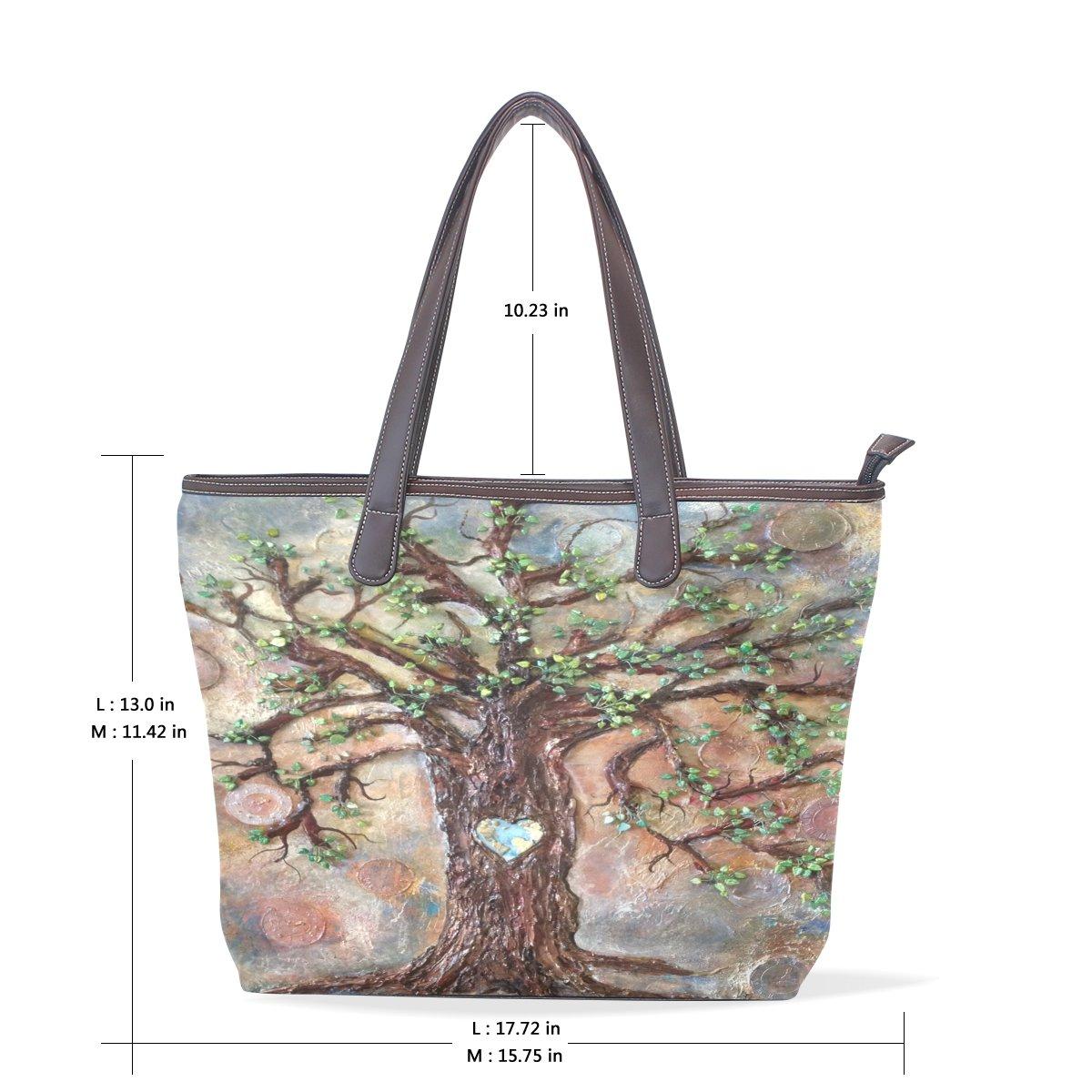 Mr.Weng Household Watercolor Love Tree Lady Handbag Tote Bag Zipper Shoulder Bag