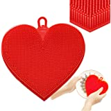 Jalousie Silicone Antibacterial Sponge Scrubber for Dishwashing, Kitchen Bathroom Cleaning (Heart)