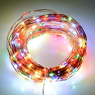 J&D Multi-Colored LED String Lights, Copper Wire Lights, Durable and Waterproof, for Indoor/Outdoor Decoration, Holiday, Christmas, Party, etc - 33 feet (10 Meters)…