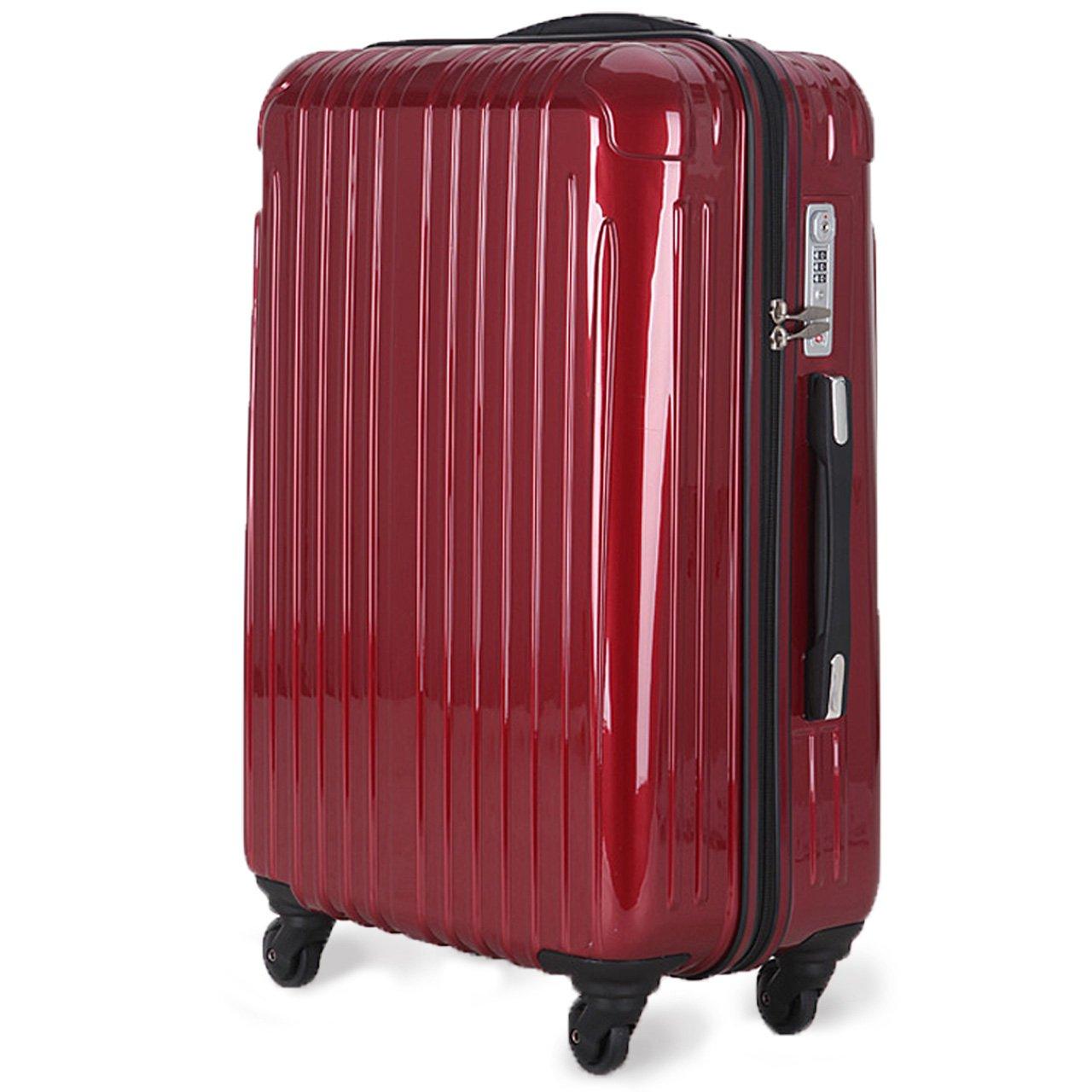 strike[ストライク]超軽量 2年保証 スーツケース TSAロック搭載 旅行バック トランクケース 旅行カバン B072HN17LX 中型Mサイズ(4-7泊)|ワインレッド ワインレッド 中型Mサイズ(4-7泊)