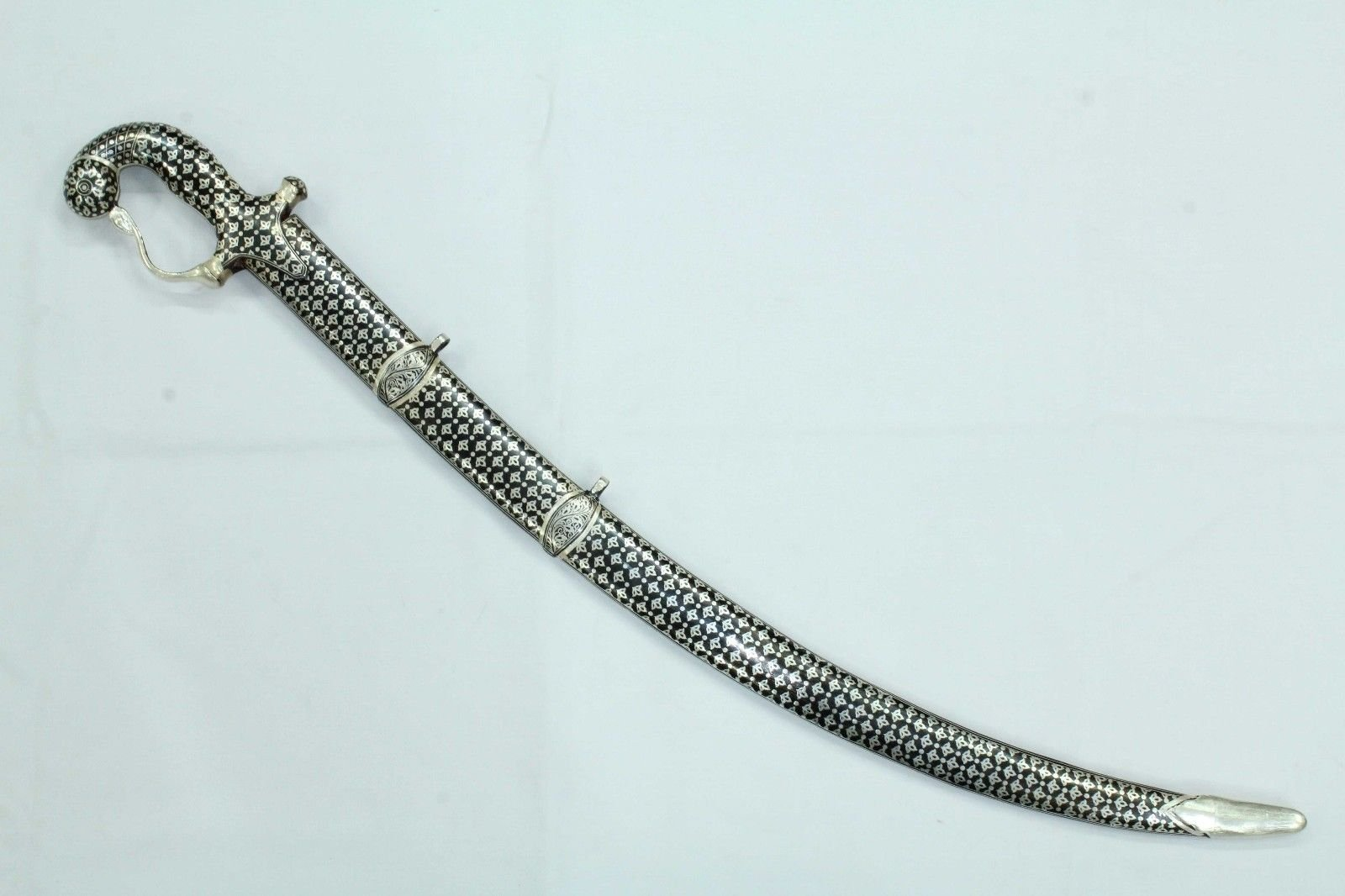 Rajasthan Gems Sword Damascus Steel Blade Silver Wire Bidaree Work on sheath and Handle 32''