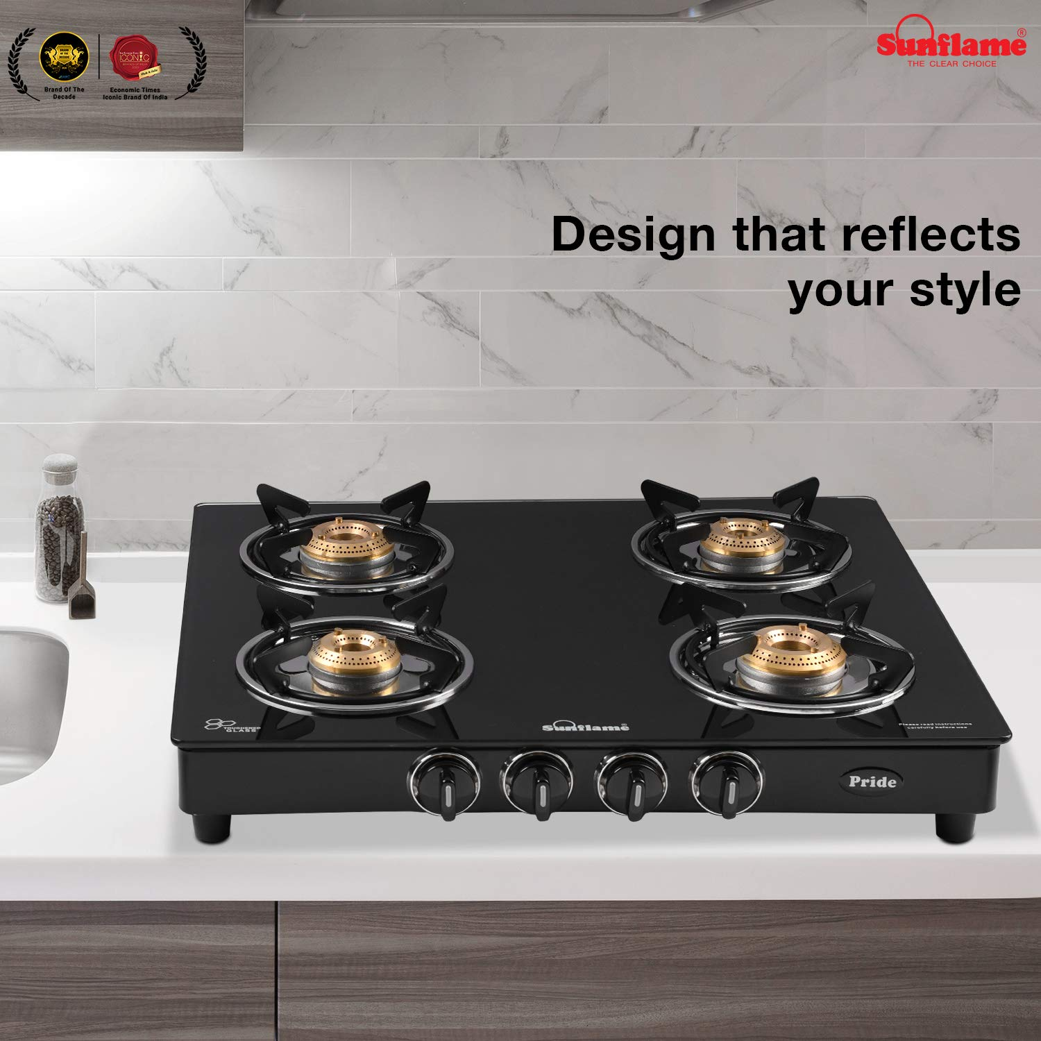 Sunflame GT Pride Glass Top 4 Brass Burner Gas Stove