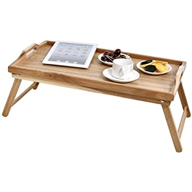 WELLAND Acacia Wood Breakfast Bed Tray Serving Tray with Handle, Foldable Breakfast Table, Laptop Desk, Bed Table, Serving Tray