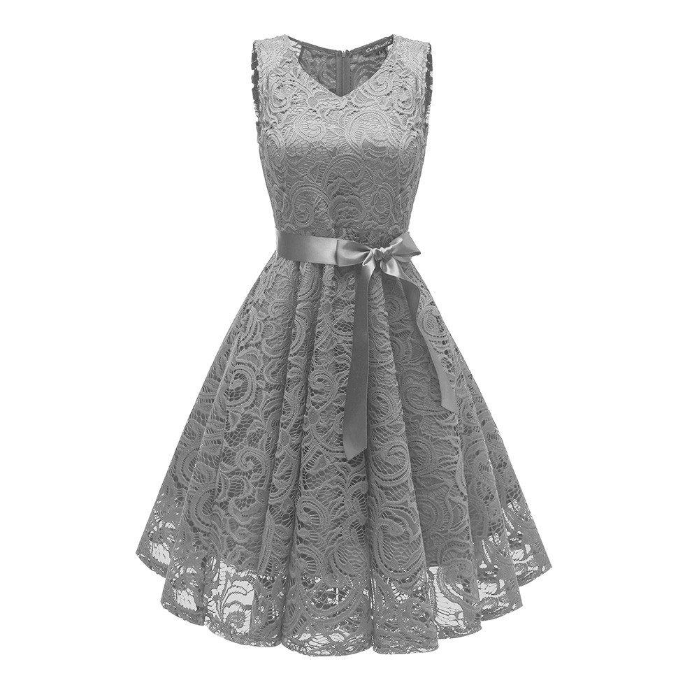 Womens Dresses Clearance! Women's Vintage Princess Floral Lace Cocktail V-Neck Party Aline Swing Mini Dress (XL, Gray)