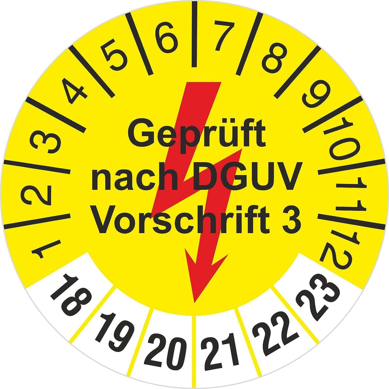 10 Stü ck gelb geprü ft nach DGUV Vorschrift 3 mit Blitz Prü fetiketten / Prü fplaketten 30 mm rund 2018-23 kaufdeinschild
