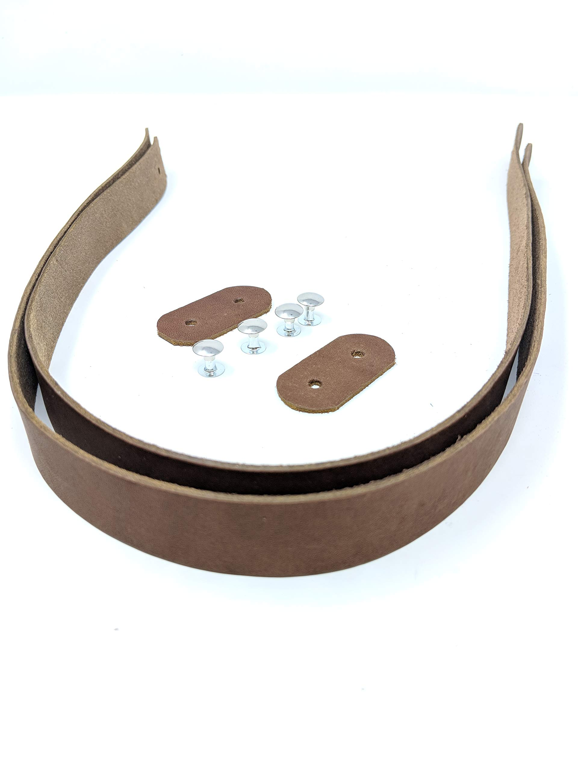 Leather Handles for Purses Or Tote Bags | Replacement Strap | 2 Strips are 27 Inches Long and 1 inch Wide 4 to 5 oz.-1/16 Thick (Medium Brown) by TOFL
