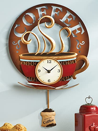 Hot Coffee Cup Decorative Kitchen Wall Clock