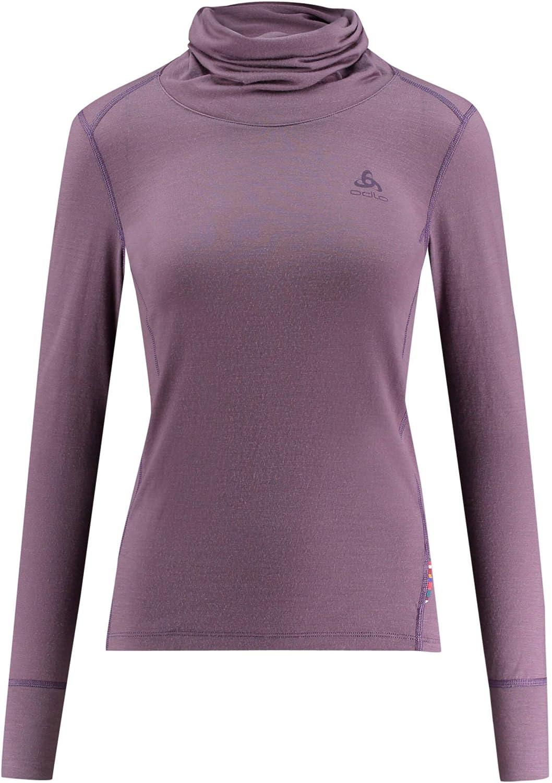 Odlo Bl Top Turtle Neck L//S Natural 100/% Merino Warm Camiseta Mujer