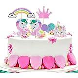 誕生日 ケーキトッパー iwobi ケーキ装飾 ケーキデコレーション ケーキ飾り 誕生日装飾 ケーキ挿入カード ユニコーン 24枚セット