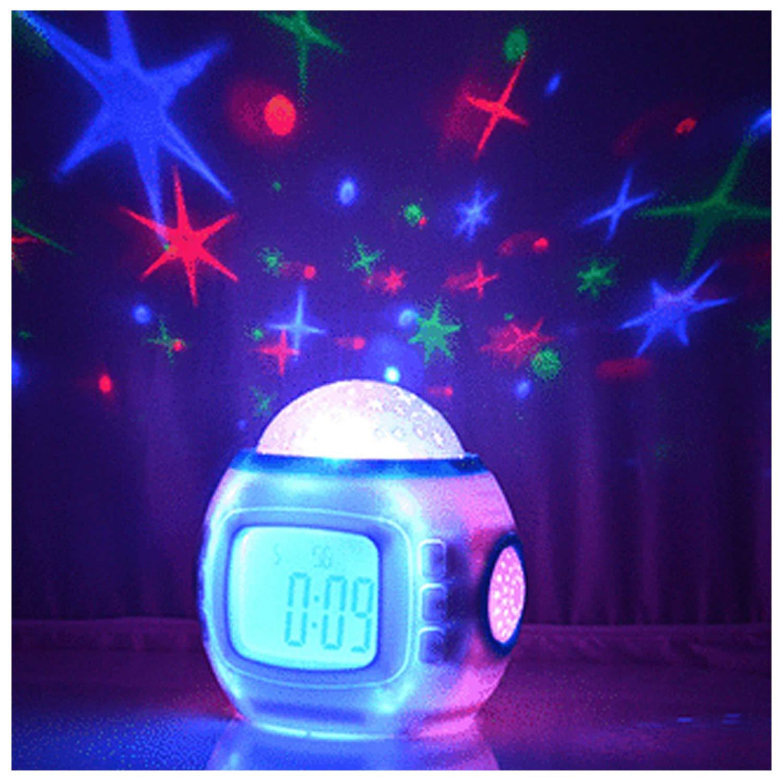 Sky Star Night Light Projector Lamp Bedroom Alarm Clock With music Backlight Calendar Thermometer for Children Kids Birthday Gift