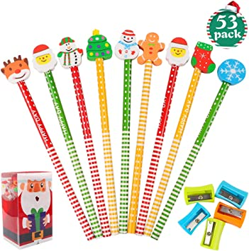 Christmas Holiday Present Party Favors EOOUT 40 Pack Assorted Colorful Christmas Pencil with Assorted Eraser Set with 5 Pencil Sharpeners Prize for Kids