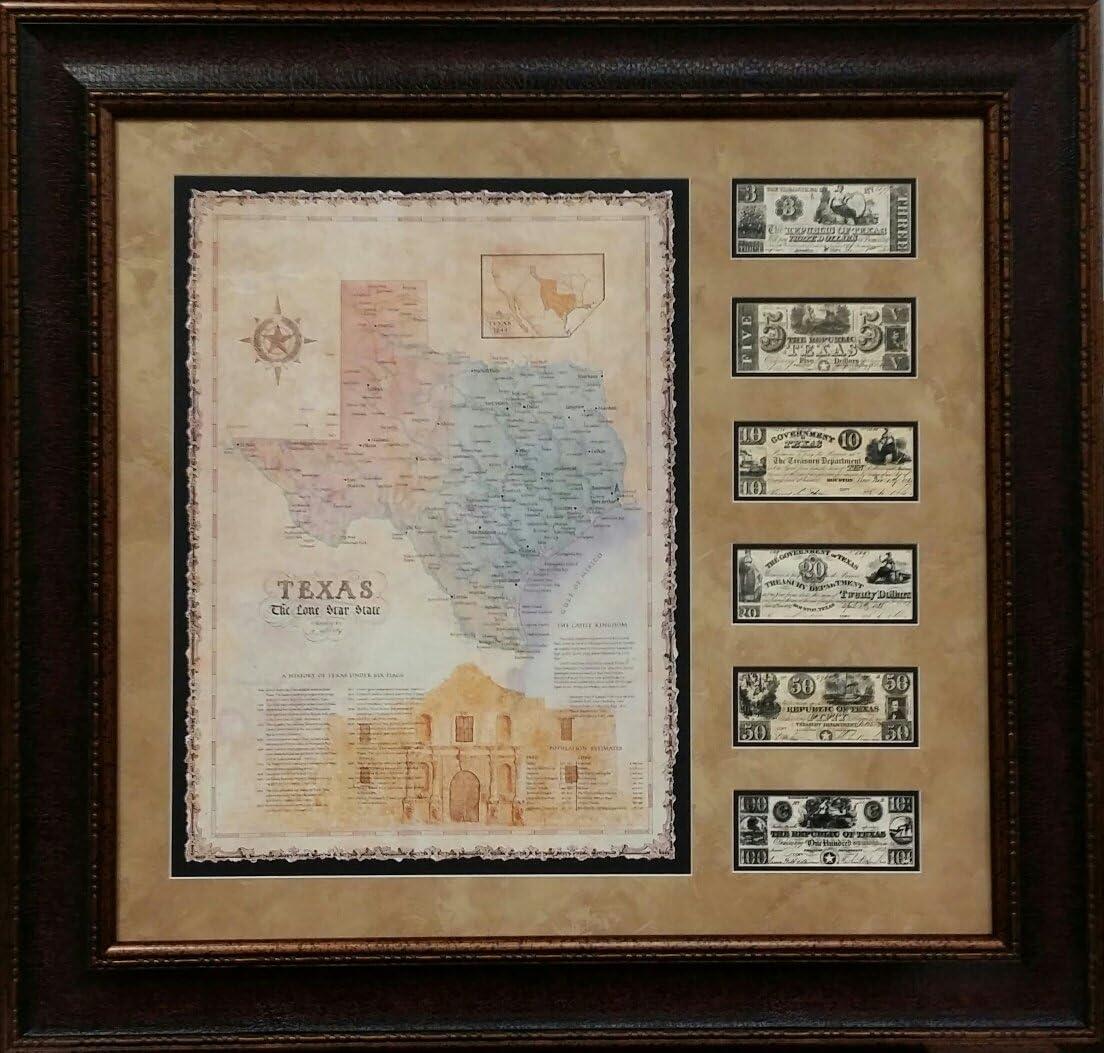 "ANTIQUE AND HISTORIC MAPS - ALAMO MAP W/MONEY - DOUBLE MAT - 40X42"""