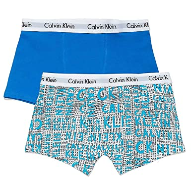 ec28cc82d9d Calvin Klein Boys 2 Pack Modern Cotton Boxer Trunks - Scribble  Logo/Imperial Blue