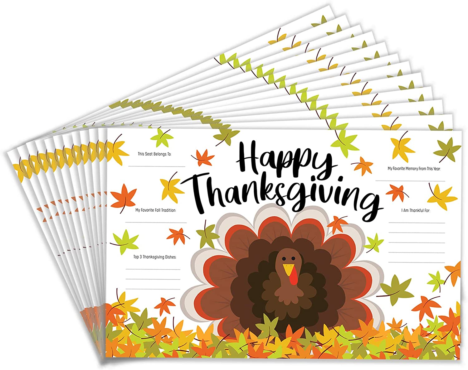 Tiny Expressions - Thanksgiving Placemats for Families (Pack of 12 Turkey Placemats) | Color Activity Paper Table Mats for Kids to Write Thankful List | Disposable Bulk Décor Bundle Set