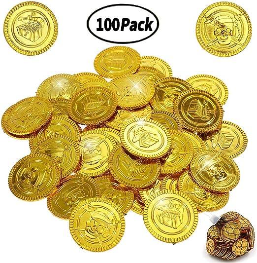 BESTZY 100 Piezas Monedas Pirata Monedas de Oro plástico Juguete ...
