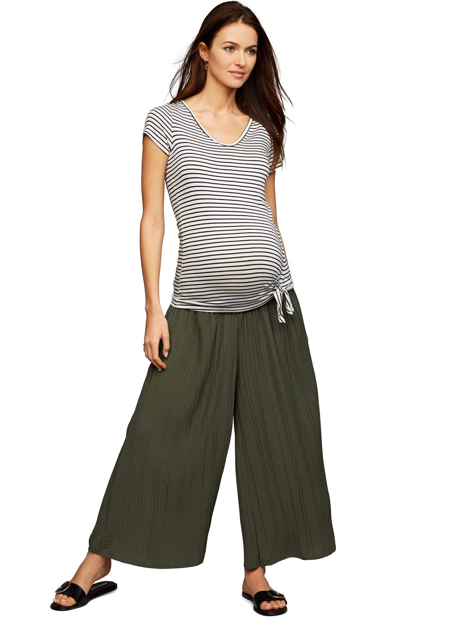A Pea in the Pod Under Belly Crepe De Chine Wide Leg Maternity Pants Olive by A Pea in the Pod