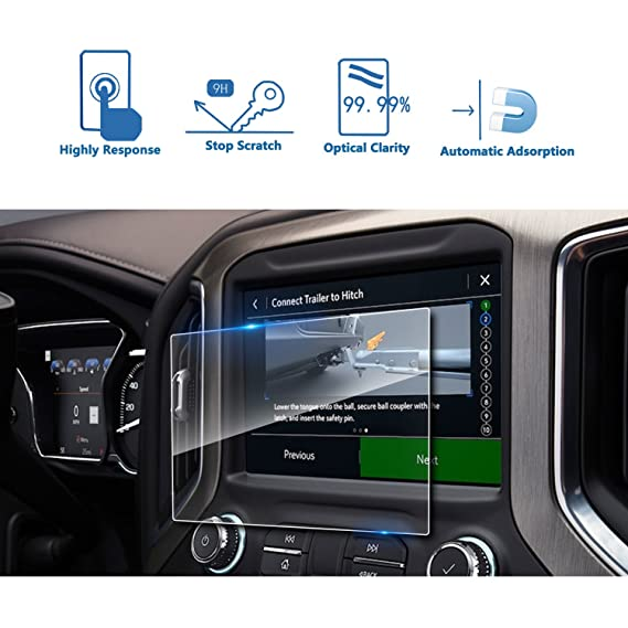 LFOTPP 2019 GMC Sierra 1500 8 Inch IntelliLink Car Navigation Screen  Protector, [9H] Tempered Glass Center Touch Screen Protector Anti Scratch  High