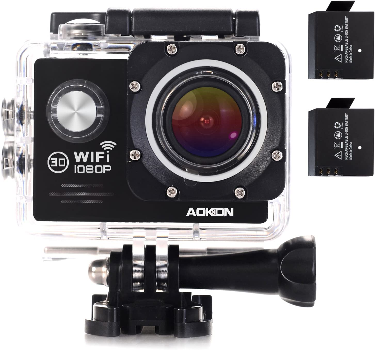 AOKON ASJ70 Action Camera 12MP 1080P HD WiFi 4X Zoom Waterproof Sports Cam 2 Inch LCD Screen, 170 Degree Wide Angle Lens, 98ft Underwater DV Camcorder