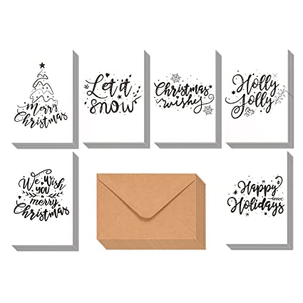 48 pack merry christmas greeting cards bulk box set winter holiday xmas greeting cards - Artistic Holiday Cards