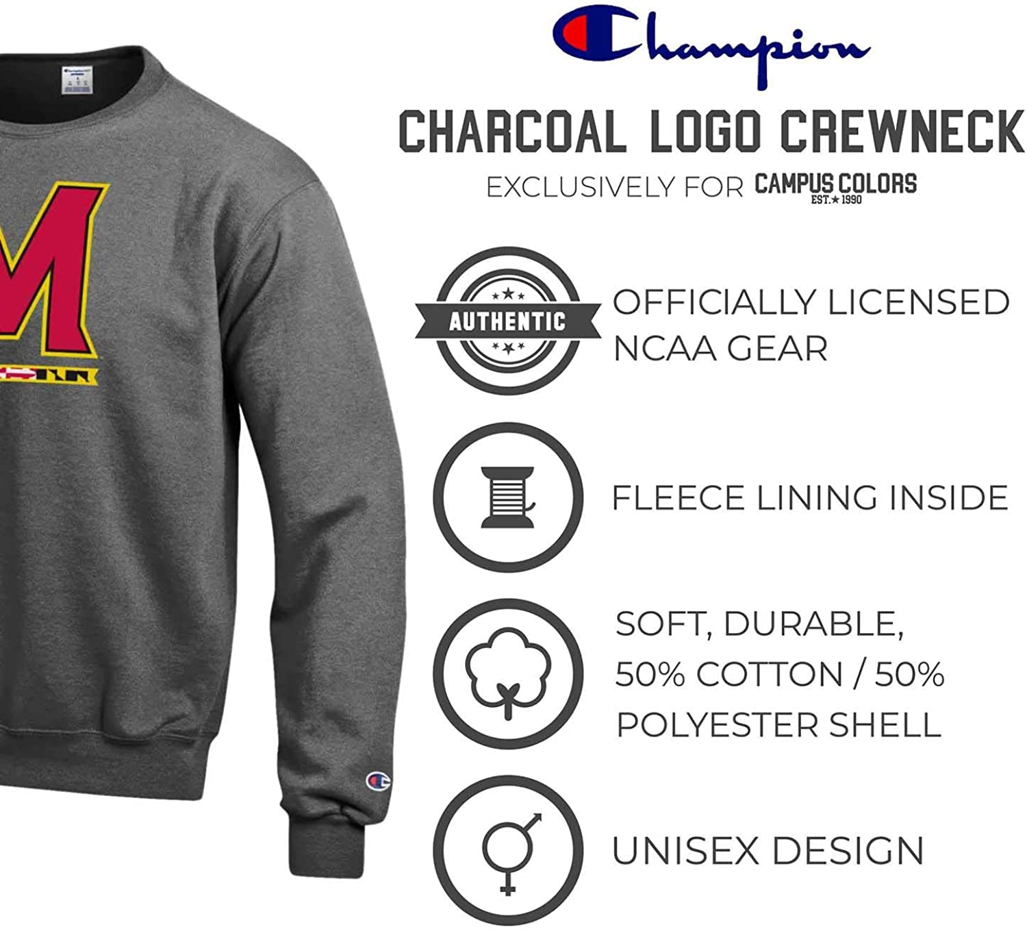 Champion Adult Long Sleeves Unisex Fleece Crew-neck NCAA Officially Licensed Team Shirt
