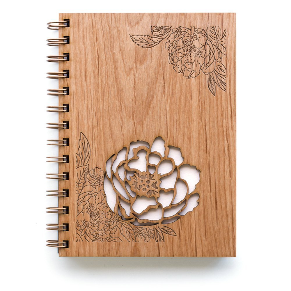 Peonies Laser Cut Wood Journal (Notebook/Birthday Gift/Gratitude Journal/Handmade) by Cardtorial